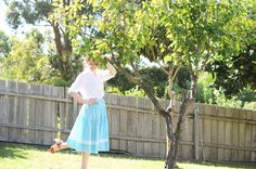 blue-gingham-skirt-summer-peach b