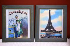 RUSTIC SHABBY CHIC PICTURE FRAMES X2, PARIS GREY WITH EIFFEL & CHOCOLAT PRINTS
