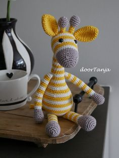 Little Giraffe Gijs is made of cotton with a synthetic filling. On request I also make them from yarn. Crochet Toys, Knit Crochet, Knitting Patterns, Crochet Patterns, Little Giraffe, Stuffed Toys Patterns, Crotchet, Knitting Needles, Dinosaur Stuffed Animal