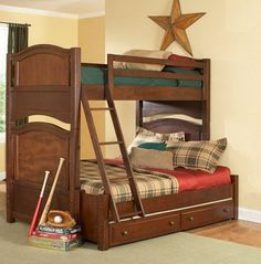 Aris Classic Warm Brown Cherry Wodo Twin/Full Bunk Bed w/Trundle