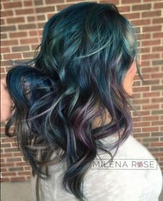 Magnificent! @thsmilenarose used 7SM & blue booster on the base, then balayaged #KenraCreativeColor Blue, Violet with White & Teal and lightener on the ends. Love it!  #KenraColor #Kreate #Kenra #KenraProfessional #BlueHair #PurpleHair #SilverHair