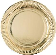 Kulta-lautanen. Kultaiset juhlatarvikkeet sopivat arvoisiinsa juhliin kuten esimerkiksi uuden vuoden viettoon taikka 20-luvun gangsterijuhliin.