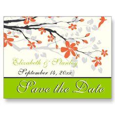 Magnolia flowers tangerine #orange, lime green #wedding custom floral Save the Date postcard. #savethedate