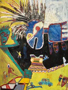 George McNeil Claudine 1992 Oil and collage on canvas 98 x 78 inches