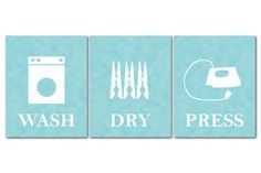 Wash Dry Press - Laundry Room Wall Art - Canvas Trio - Laundry Room Decor - Laundry Art - Laundry Room Wall Decor - Gallery Wrapped Canvas by SusanNewberryDesigns on Etsy Laundry Shop, Laundry Room Wall Decor, Wall Art Decor, Room Decor, Background Vintage, Large Prints, Brown And Grey, Canvas Wall Art, Etsy Shop
