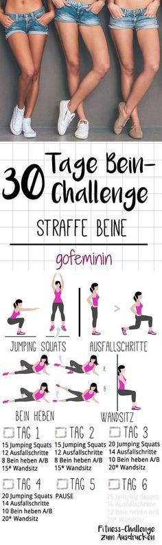 Die ganze Challenge gibt's zum Ausdrucken bei gofem inin.de. Startet jetzt mit dem Kurze-Hose-Training für den Sommer - mit der 30-Tage-Bein-Challenge!
