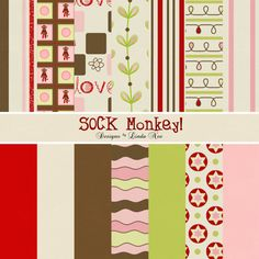 SOCK MONKEY Diva Paper Pack Commercial or by DesignsbyLindaNee