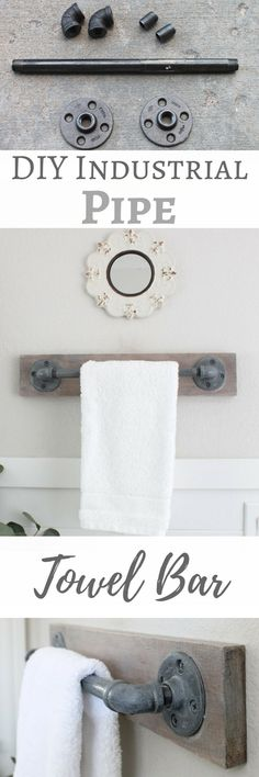 Simply beautiful from Angela: DIY Industrial Farmhouse Pipe Towel Bar . Simply beautiful from Angela: DIY Industrial Farmhouse Pipe Towel Bar . Diy Clothes Rack, Cheap Clothes, Industrial Pipe, Industrial Bathroom, Vintage Industrial, Industrial Farmhouse Decor, Ikea Hacks, Home Projects, Toilet Paper
