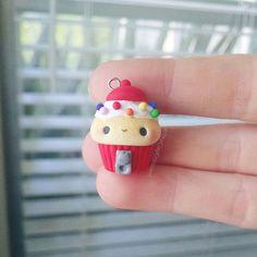 Kawaii Bubblegum Machine Cupcake - Polymer Clay Charm, Polymer Clay Jewelry, Jewelry, Pendant, Food Jewelry, Fake Food, Miniature, Cute by TheClayCroissant on Etsy https://www.etsy.com/listing/243667443/kawaii-bubblegum-machine-cupcake-polymer