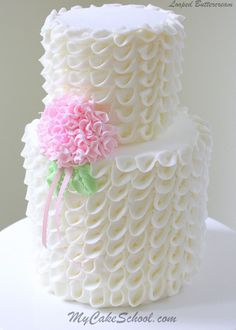 Elegant Looped Ribbons of Buttercream~ Video Tutorial by MyCakeSchool.com