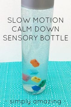 Slow Motion Calm Down Sensory Bottle is part of Kids children Calm Down - This is the most MESMERIZING sensory bottle you have ever seen! Fabulous for calming big emotions with children of all ages, you just have to check it out Sensory Bags, Sensory Activities, Infant Activities, Sensory Play, Activities For Kids, Sensory Bottles For Toddlers, Baby Sensory Bottles, Sensory Bottles Preschool, Glitter Sensory Bottles