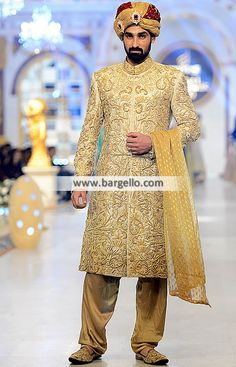Traditional Jamawar Groom Sherwani Suit  Color: Banana Mania Fabric: Self Jamawar Stylish