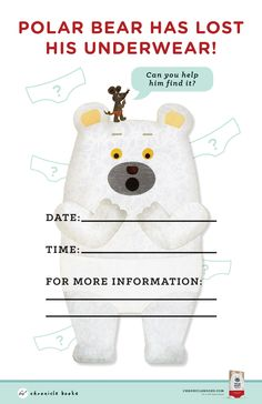 Plan a Polar Bear underwear party, make an adorable mask, and more--all in a downloadable activity kit for POLAR BEAR'S UNDERWEAR, by tupera tupera.