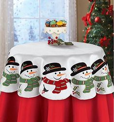 Loaded with charm, this snowman table square is the perfect way to decorate your tables with holiday cheer. The festive linens feature smiling snowmen wearing b Christmas Countdown, Felt Christmas, Christmas Time, Christmas Table Decorations, Holiday Tables, Christmas Crafts, Christmas Ornaments, Winter Nail Designs, Square Tables