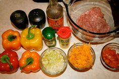 Phase 1 friendly.   Stuffed bell peppers.  Used can of diced tomatoes and small can of green chilis, plus added chili powder and cumin.