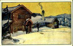 Sør-Trøndelag fylke Trondheim  Trondhjem . Studenterhytta i kunstnerisk versjon av A.Logisch, ikke vanlig. Postg. 1935