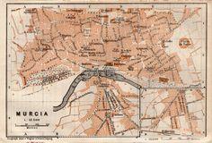 MAPA DE MURCIA ESPAÑA . MAPA BAEDEKER. ORIGINAL. AÑO 1898 GRABADO   eBay