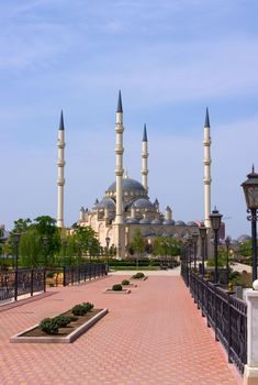 "Akhmad Kadyrov Mosque in Grozny, is ""Heart of Chechnya"". HK: this was still under construction when we were there."