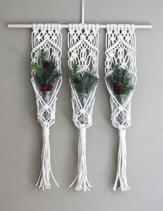 Triple Macrame Plant Hanger Boho Decor Unique by GingerAndIrisShop