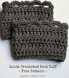 Crochet Patterns Galore - Quick Boot Cuff sharon choice used Big Twist chunky yarn (Joanns) and size J hook diameter) cast on 41 sts Crochet Boot Cuffs, Crochet Leg Warmers, Crochet Boots, Crochet Slippers, Knit Or Crochet, Cute Crochet, Crochet Crafts, Crochet Clothes, Crochet Headbands