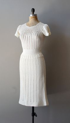 crochet dress / 1930s sweater dress / Chalklands dress. $258.00, via Etsy.