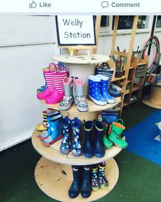 kindy_explorations Would love to recreate this gumboot station! Anyone know where to get cable reels from in Perth? Reggio Classroom, Outdoor Classroom, New Classroom, Outdoor School, Classroom Design, Preschool Classroom, Classroom Organisation, Teaching Kindergarten, Eyfs Outdoor Area