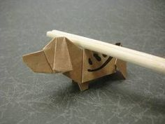 1:3.5の比率の箸袋で折るビーグル犬創作/山田勝久ビーグル犬の折り紙の折り方作り方箸袋で創作Origamibeagledogs