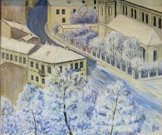 Здесь был центр еврейской жизни Минска. Вид из окна «Холодной» синагоги на Немигу, улицу Островского, собор Петра и Павла. 1966 г.