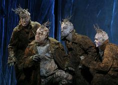 Eric Owens, my favourite Bass Baritone, in the foreground (Opera: Grendel, dir.Julie Taymor, designed by Georg Tsypin -sets- and Constance Hoffman -costumes. also Eric Owens) Julie Taymor, Practical Effects, Monster Makeup, Pinocchio, Donkeys, Set Design, Costume Design, Beauty And The Beast, Big Kids