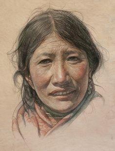 "Saatchi Online Artist: William Wu; Pastel, 2012, Drawing ""Portrait of Tibetan Aunt"""