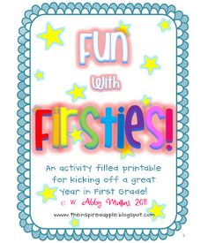 Fun with Firsties! {Back to School Activities for First Grade}(TpT) School Pack, 1st Day Of School, Beginning Of The School Year, Too Cool For School, School Fun, School Ideas, School Stuff, Summer School, Teaching First Grade