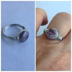 Amethyst Wire Wrap Ring Beautiful amethyst gemstone wrapped in tarnish resistant sterling silver plated wire. One-of-a-kind every ring never comes out the same and the stone can be different it's very hard to find the exact stone. Handmade. Please don't buy this listing I will make a listing for you just tell me what size you would like Cindylou's Design Jewelry Rings