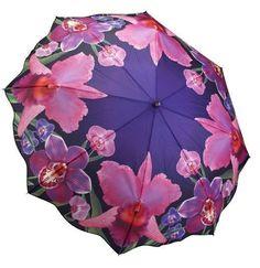 Galleria Ladies Folded Auto Artist Floral Boxed Umbrella - Orchid Floral