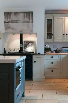 Modern Country Style: Modern Country Kitchen FTour.... Click through for details - farrow and Ball's Old White and Farrow and Ball Downpipe paint for similar effect
