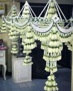 สวยงามค่ะ Wedding Columns, Wedding Stage Design, Reception Decorations, Event Decor, Flower Decorations, Floral Garland, Flower Garlands, Thai Decor, Art Deco Chandelier