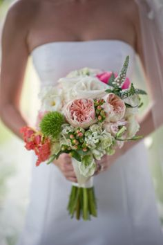 stunning peach colored things | Stunning bride and bridesmaids bouquets featuring peach, pink and ...