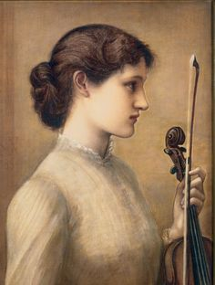 "books0977: "" Sara Norton (1884). Edward Burne-Jones (English, 1833-1898). Oil on canvas. Historic New England. Half-length portrait of Norton as a young woman in profile facing right, holding a violin. Norton was at the center of New England's..."