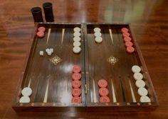 Antique English backgammon set. c.1860-80, mahogany inlaid with ivory, ebony and other woods. Ivory backgammon pieces, rosewood dice shaker cups. High quality, lovely set.,