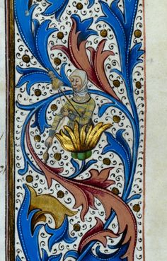 Spinning in a golden flower. Royal 15 E IV f. Medieval Drawings, Medieval Art, Medieval Books, Illuminated Letters, Illuminated Manuscript, Renaissance, Celtic Dragon, Celtic Art, Golden Flower