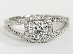 @mrslhuillier Split Shank Halo Engagement Ring in Platinum
