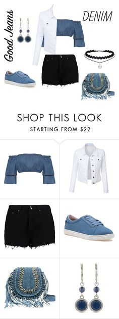 """""""Awesome in denim 🔥"""" by kara-klose ❤ liked on Polyvore featuring WearAll, LE3NO, Boohoo, J/Slides and Nine West"""