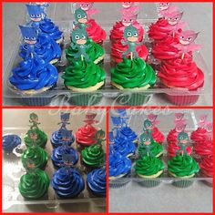 PJ Masks themed birthday cupcakes.