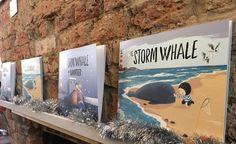 Lots of The Storm Whale books, from Benji Davies new exhibition. Exhibition Display, Frame Display, Latest Books, Book Pages, Whale, Original Artwork, Sketches, Winter, Illustration