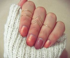 Knuckle Rings Gold Chevron Set of 5 Gold by PricklyHearts on Etsy