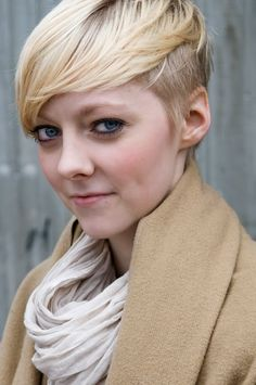 short blonde hair brushed forward