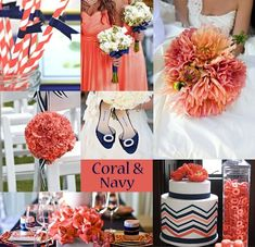 Coral and Navy Wedding Ideas.