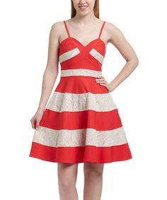 Look what I found on #zulily! Coral & White Stripe Fit & Flare Dress by Maniju #zulilyfinds