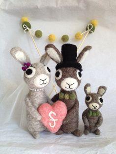 AdoraWools - Bride - Groom - Baby Bunny -  You Choose Colors - Wedding Bunny Family -. $135.00, via Etsy.