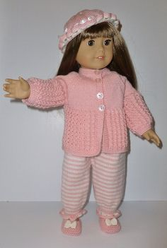 Doll Knitting Pattern PDF -  Pink Stripes