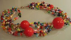 ANEHO Créatpion Necklaces  Collier composé de grosse perles de verre montées sur plusieurs rangs de perles de verre anciennes (trade beads, verre de Bohême utilisé comme monnaie en Afriqe) et verre divers (Inde-Afrique-europe).  www.a-neho.com